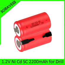 Ni-Cd 1.2V SC battery 2200mah Rechargeable  Batteries  Sub C  nimh cell with welding pins tab for vacuum cleaner electric drill automatic vacuum cleaner xr510 battery original vacuum cleaner xr510 2200mah ni battery 1 pc