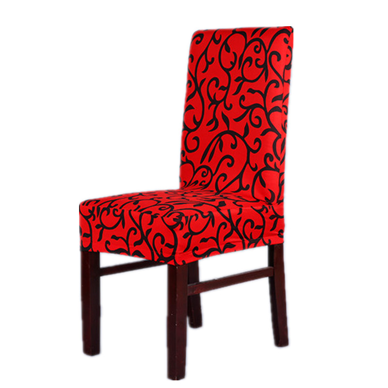 Red And Black Sure Fit Soft Stretch Spandex Pattern Chair Covers For Kitchen Short Dining Cover V43