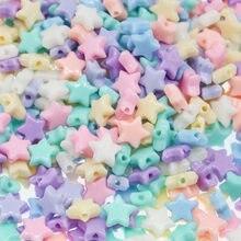 Chongai 200 pçs misturada cor de doces acrílico pentagrama frisado diy acessórios contas para jóias pulseiras fazendo 10mm