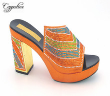 Capputine New Fashion African Rhinestone Leisure Italian Style Woman High Heels Orange Color Shoes For Party Free Shipping