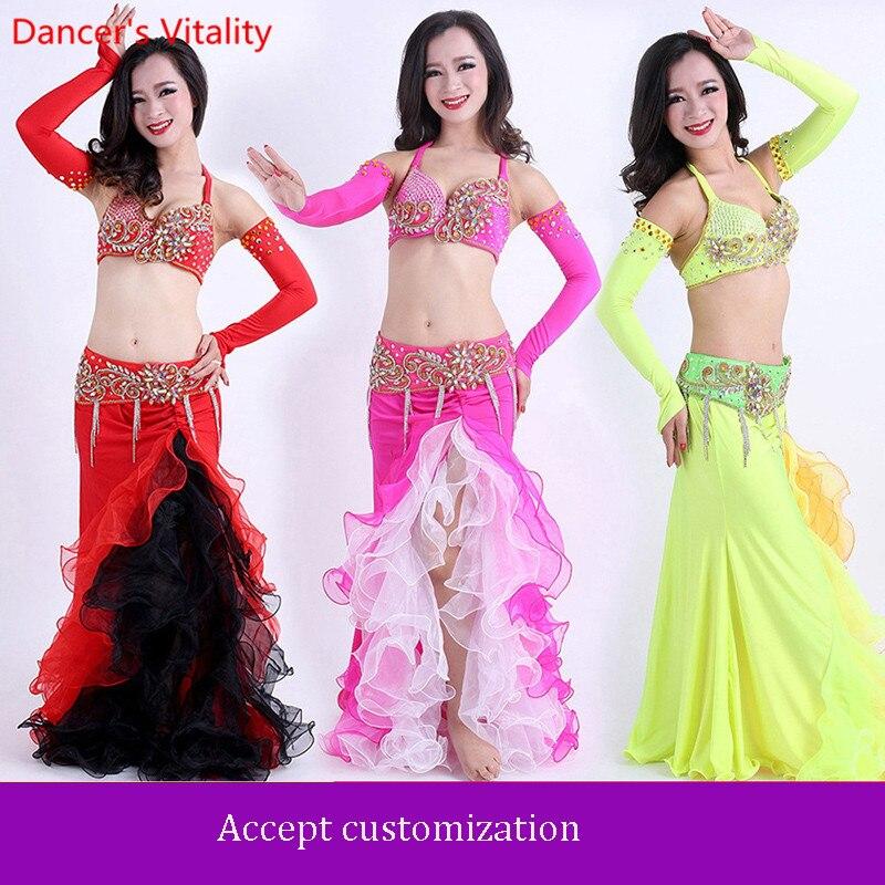 Fait à la main perlé 4 pièces soutien-gorge jupe ceinture à la main manches ventre danse Costume pour les femmes pour ensemble de danse sur mesure livraison gratuite
