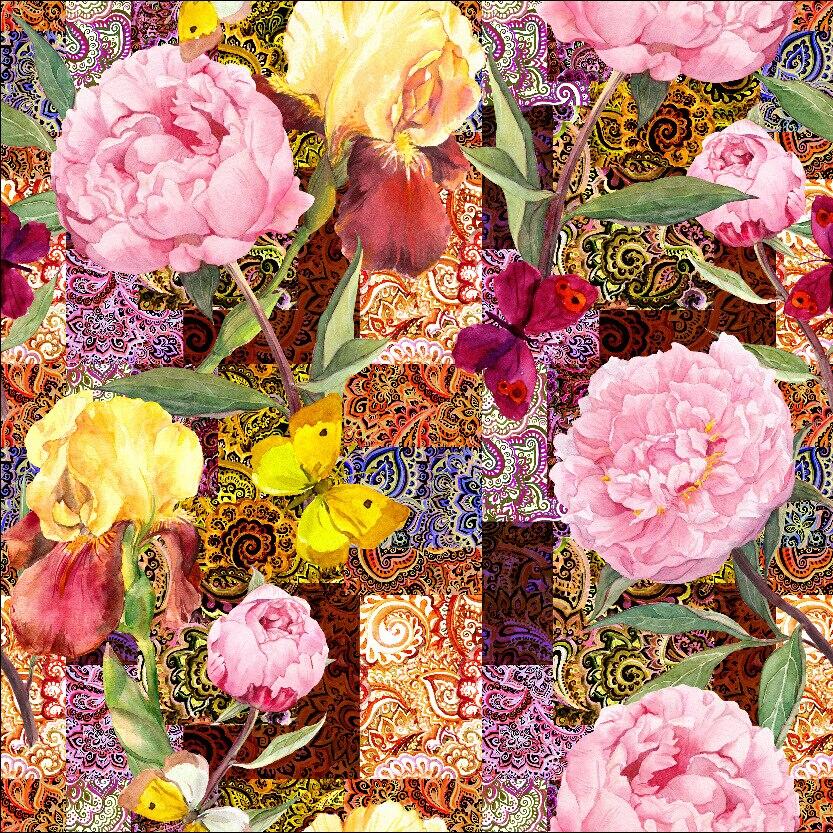 LEO LIN flowers red Patchwork color Style Chiffon Yarn Air Layer Fabrics Digital Printing Fabrics 50cm
