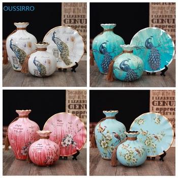 3 sztuk zestaw Jingdezhen ceramiczne wazy rocznika chiński styl zwierząt wazon dobrze gładka powierzchnia dekoracji wnętrz artykuły wyposażenia wnętrz tanie i dobre opinie Europa L2058 Flower OUSSIRRO Ceramiczne i emaliowane