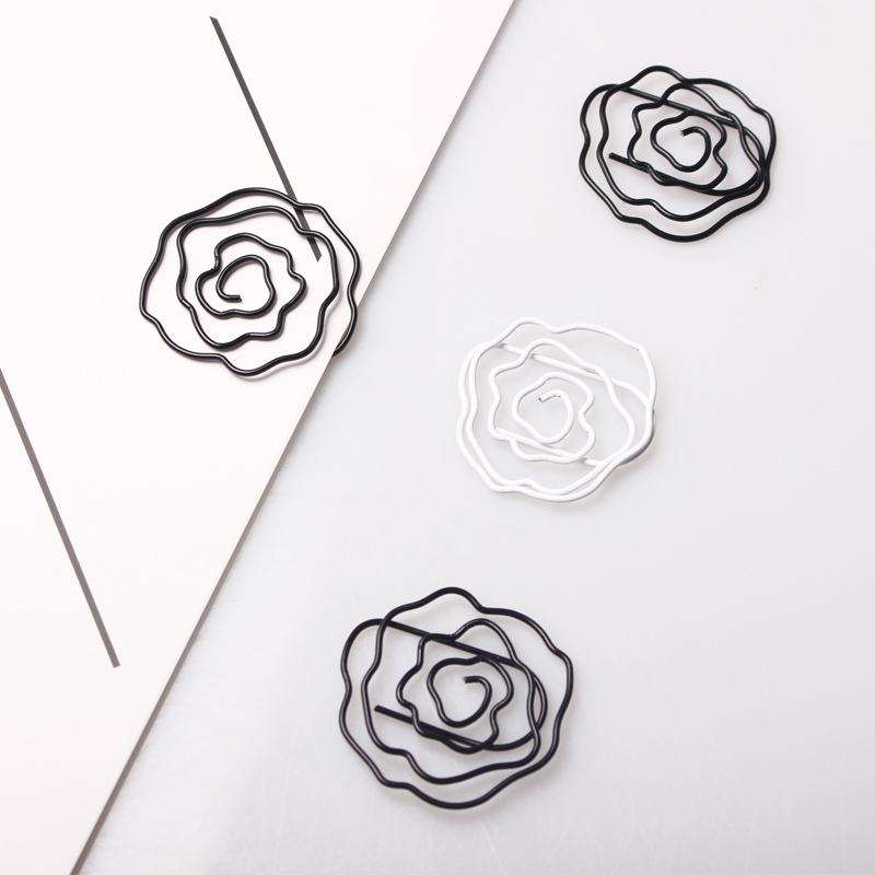 Black/white Rose Shaped Paper Clips Decorative Kawaii Paper Clips Metal Office Supplies Rose Cute Office Supplies Rose Clips