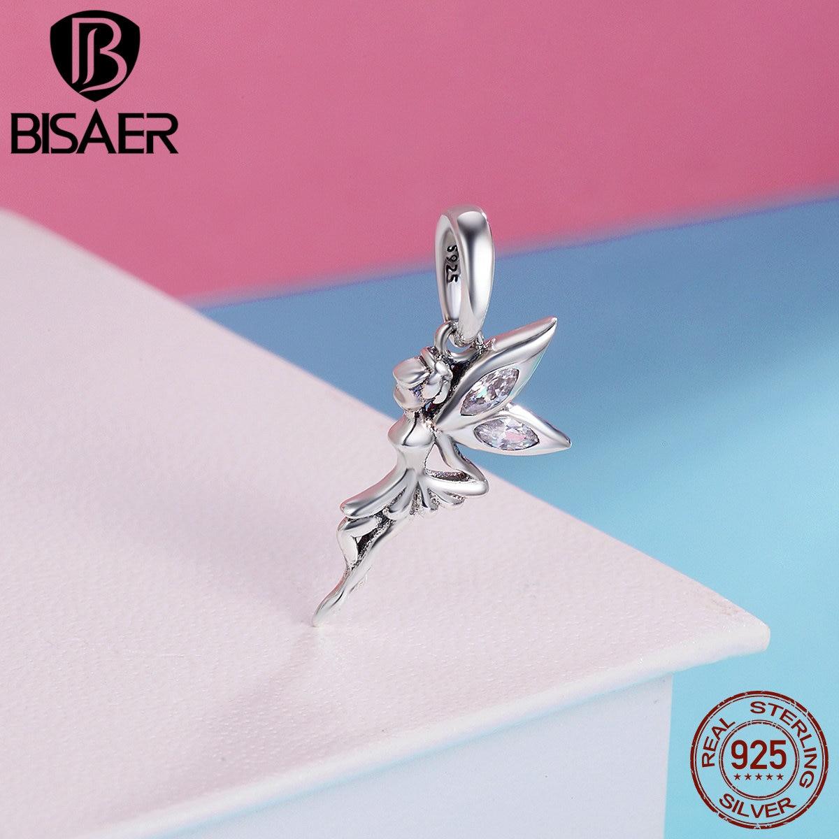3818bf86b657 Real 100% Plata de Ley 925 flor Hada, plumas de Ángel colgantes dijes Fit  pulsera BISAER plata 925 joyería Original