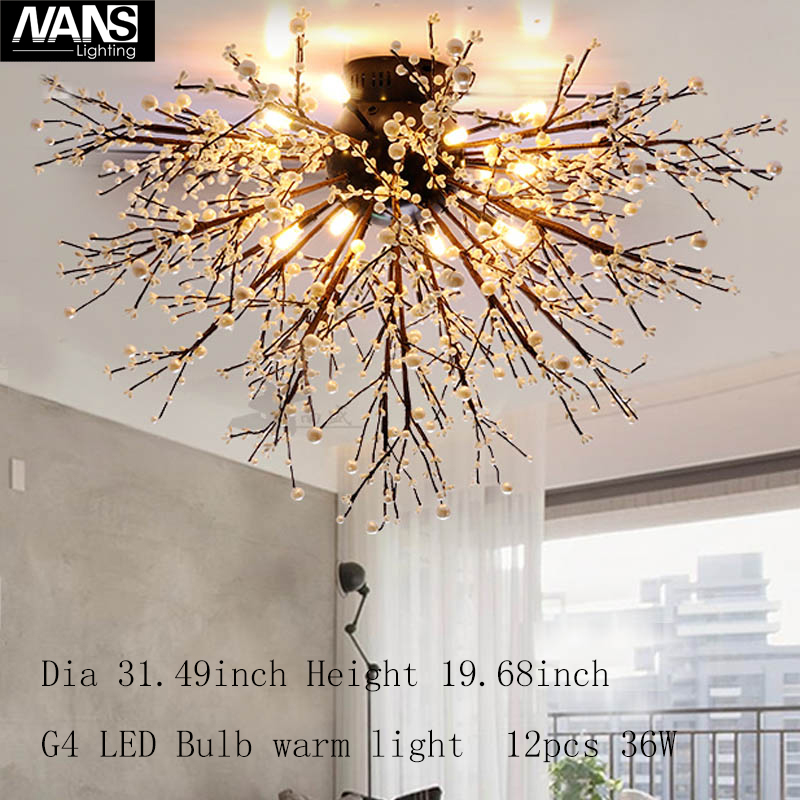 Loft European vintage Ceiling Lights Luminaria AC110~240V vanity acrylic decoration G4LED Bulb 36watt for Living Room Bedroom
