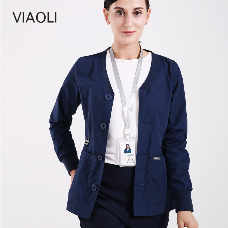 New Women Men Medical Jacket Uniform Warm-Up Jackets Coat Scrub Sets Nursing Uniforms Snap Front Knit Cuffs Surgeon Work Outfit