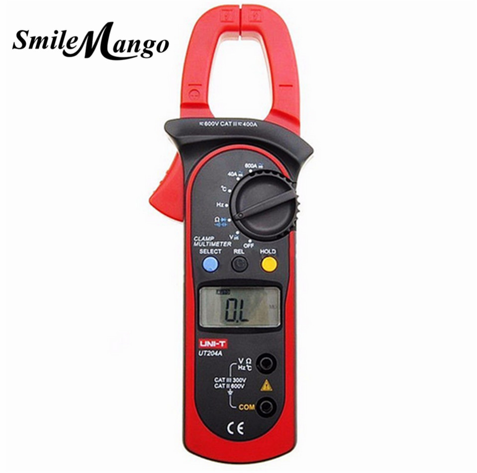 UNI-T UT204A 204 UT-204A Digital Clamp Meter Voltage AC DC Temperature Capacitor 600A Current Diode Auto Range Multimeter uni t ut205 ture rms auto manual range digital handheld clamp meter multimeter ac dc voltage aca test tool