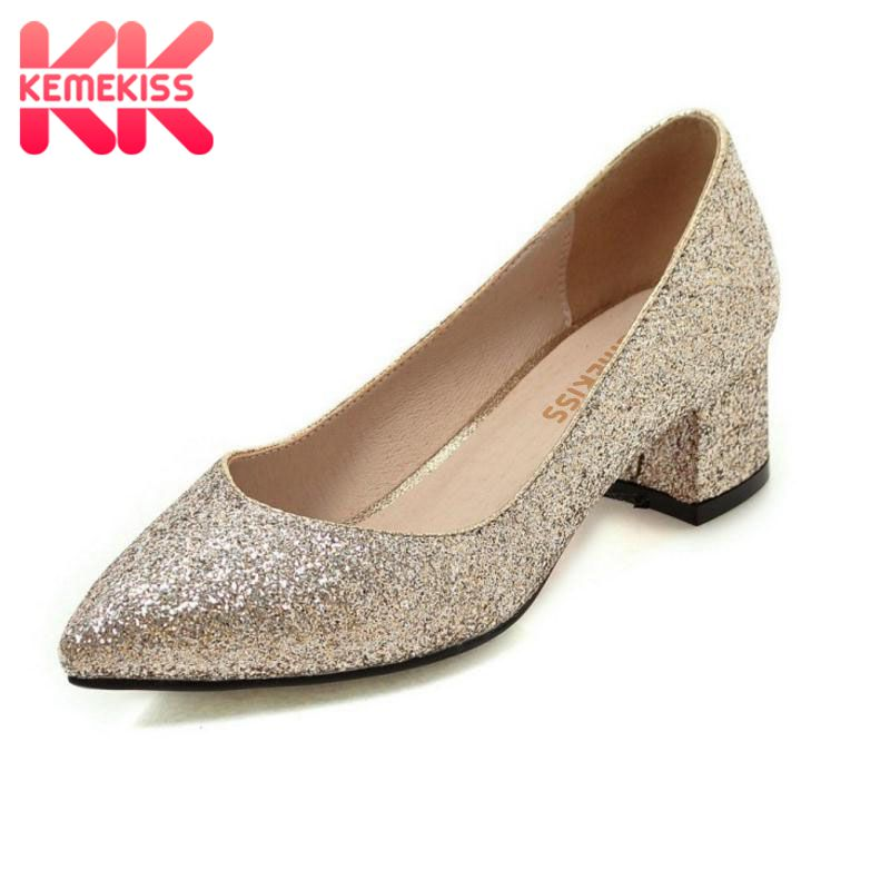 KemeKiss Women High Heel Shoes Fashion Pumps Square Med Heel Pointed Toe Platform Summer Ladies Wedding Shoes Size 34-45 kemekiss women slippers clip toe flat heel crystal shine women summer shoes fashion korean holidays footwear size 36 40