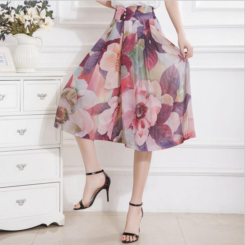 2019 Summer Women ChiffonWide Leg   Pants     Capris   Fashion Female High Waist Casual   Pants   Print Plus Size   Pants   Women LY153