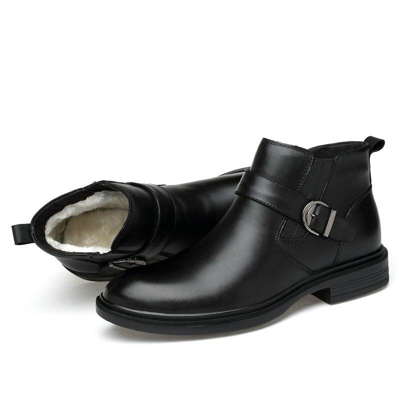 Herren Winter Stiefel Aus Echtem Leder Schnee Stiefel Wasserdichte Winter Schuhe Männer Formale Stiefeletten Anti kalt Plus Größe 45 walker Spitzen-in Basic Stiefel aus Schuhe bei  Gruppe 3