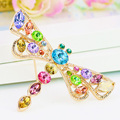 B350591 Luxurious elegant colors crystal dragonfly brooch zinc alloy rose gold plated with import crystal fashion women Jewelry