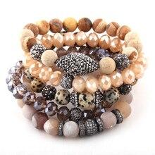 Модный красивый набор из 5 предметов, бежевый браслет, набор из натурального камня и стеклянного хрусталя, браслеты