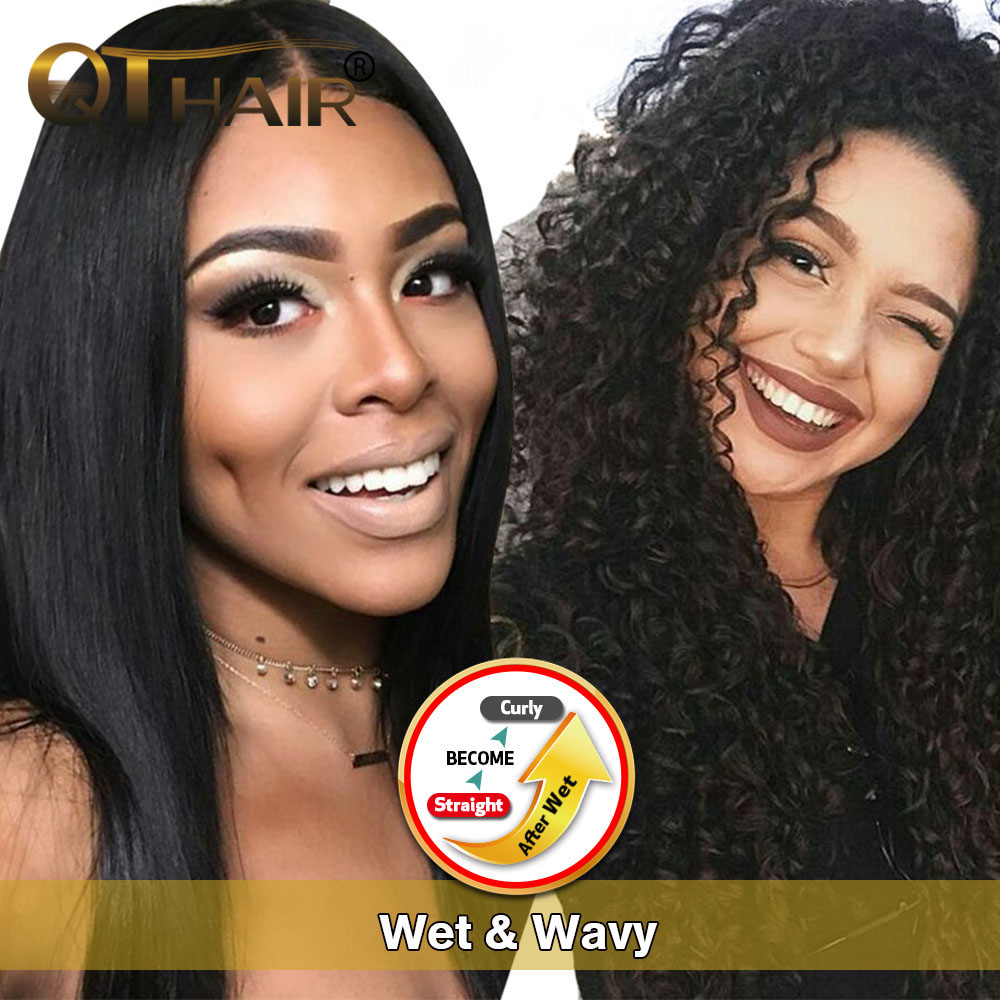 Mongolian Kinky Curly Hair Wet & Wavy Human Hair Bundles 100% Human Hair Weave Straight Will Become Curly After Wet Non remy QT-in Hair Weaves from Hair Extensions & Wigs    1