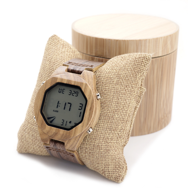 Bobobird A13 Mens Luxury Brand LED Sports Wooden Watches Casual Bamboo Wood Digital Watches Mens Multifunctional in Wood Box