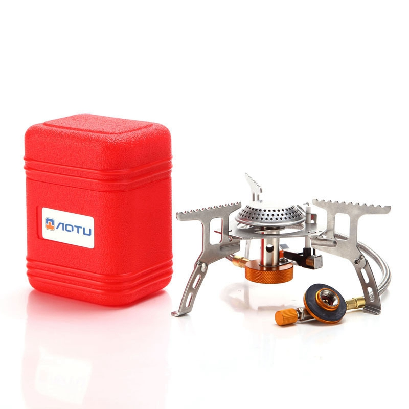 Portable Outdoor Folding Gas <font><b>Stove</b></font> Camping Equipment Hiking Picnic 3500W Igniter Camping Gas <font><b>Stove</b></font>