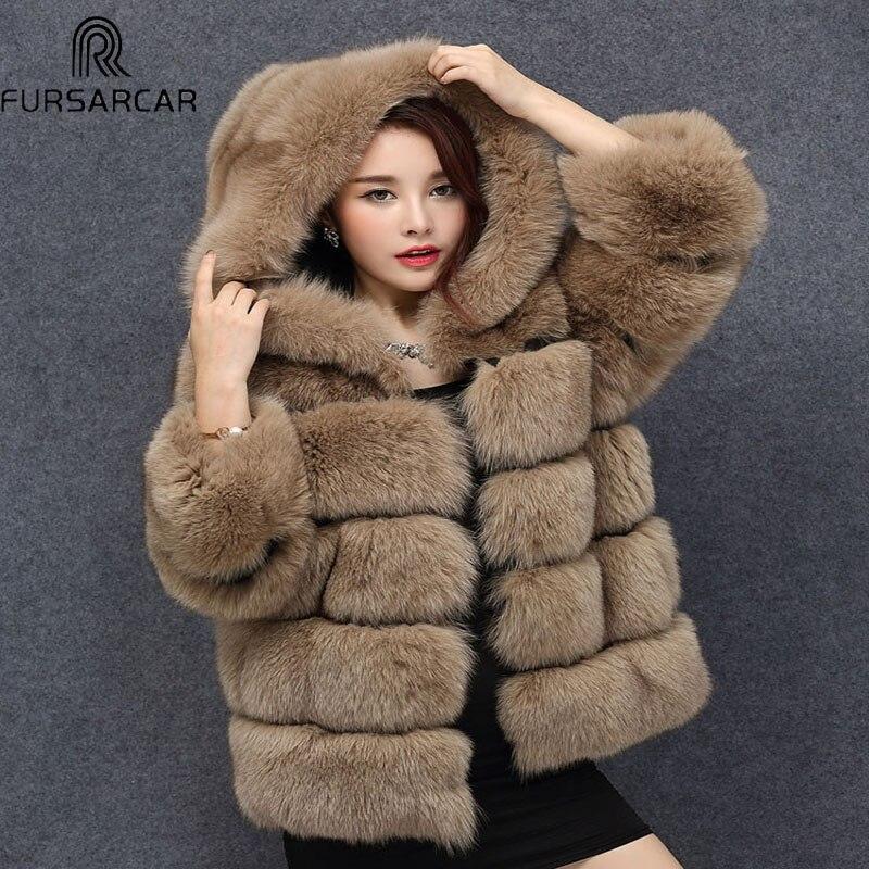 100% skutečné Fox kožichy pro ženy 2017 zimní teplá tlustá bunda s kapucí Silver Fox Pelts Přírodní kožešinové oblečení pro ženy BF-C0487