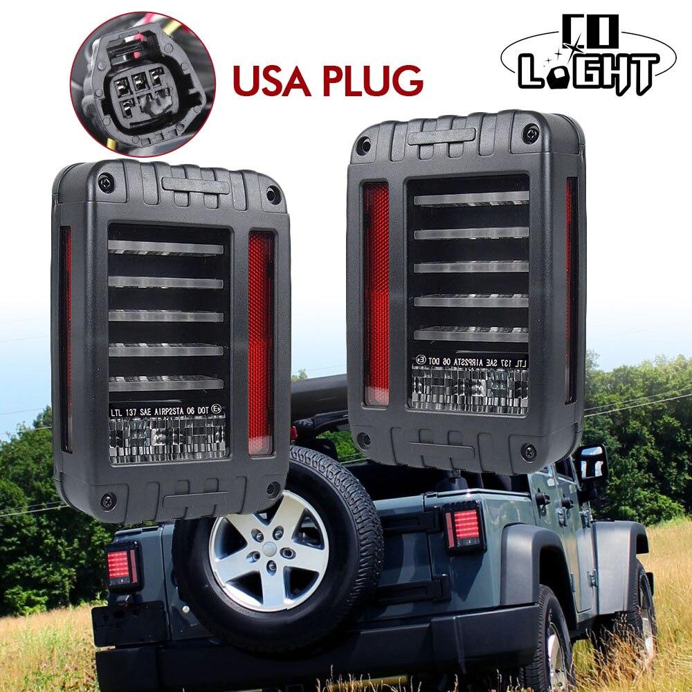 CO LIGHT 1 Pair LED Reverse Brake Tail Lights 48W For 07-15 Jeep Wrangler JK TJ Replacement Tail Light USA Version DC 12V