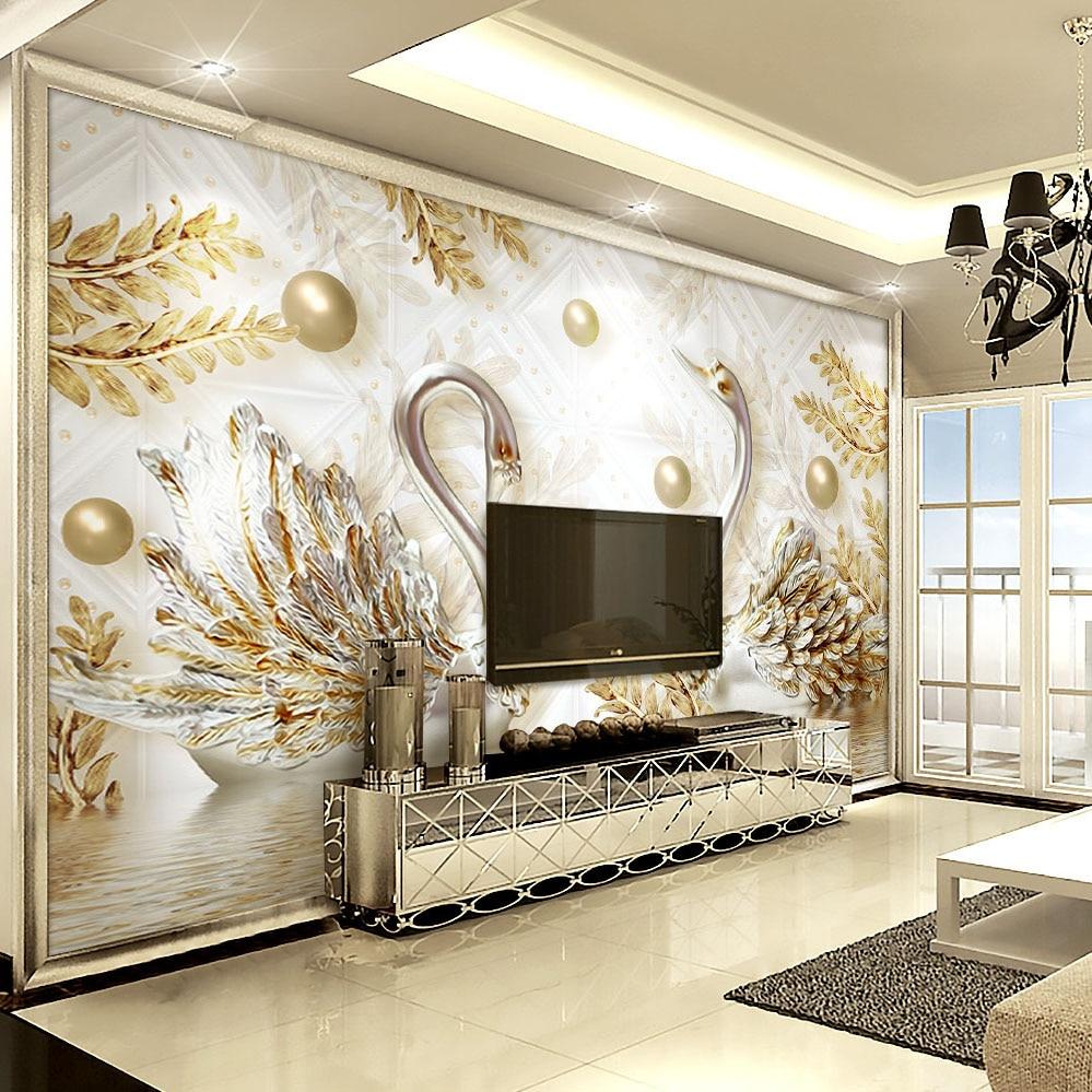 Luxury Wallpaper Jewelry Swan Wall mural Custom 3D ...
