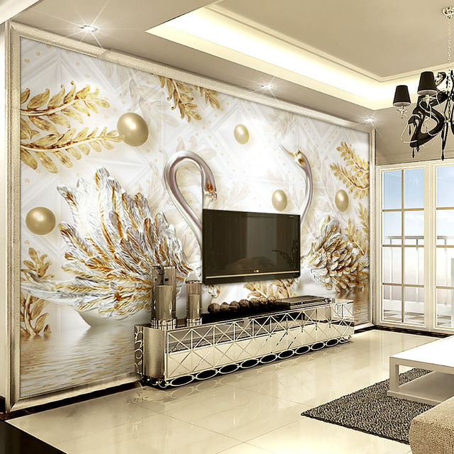 Buy luxury wallpaper jewelry swan wall for Mural de chine