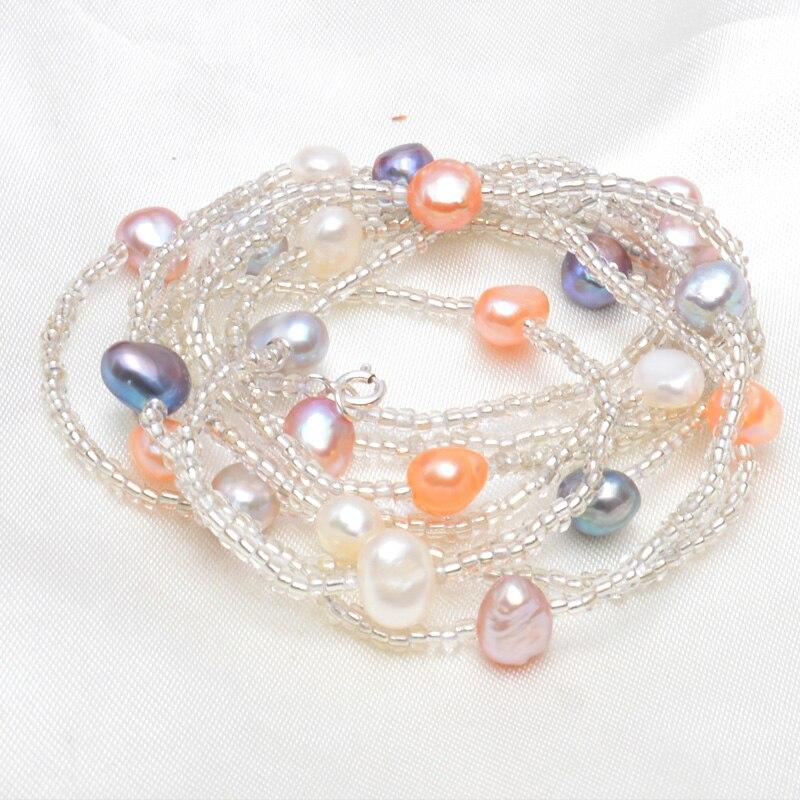 Женское Ожерелье из натурального пресноводного жемчуга ASHIQI, белое жемчужное ожерелье длиной 120 см с застежкой из серебра 925 пробы, 2019