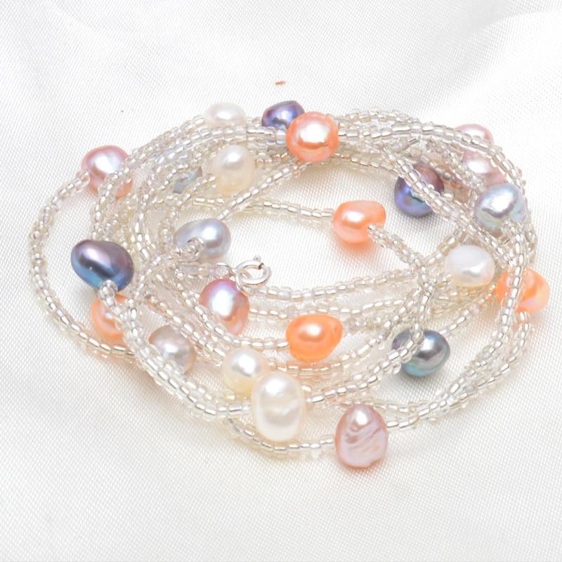 ASHIQI Natürliche Süßwasser Barock Perlenkette Für Frauen 120 cm - Edlen Schmuck - Foto 3