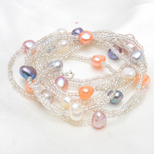 ASHIQI Natural Freshwater Baroque Pearl Necklace For Women 120cm Long White Crystal Beads With 925 Silver Clasp Jewelry