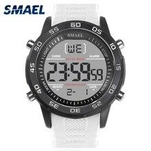 SMAEL דיגיטלי שעוני יד גברים LED תאורה אחורית לבן אלקטרוני שעון יוקרה מפורסם גדול חיוג חם זכר חדש ספורט שעונים Quartz1067