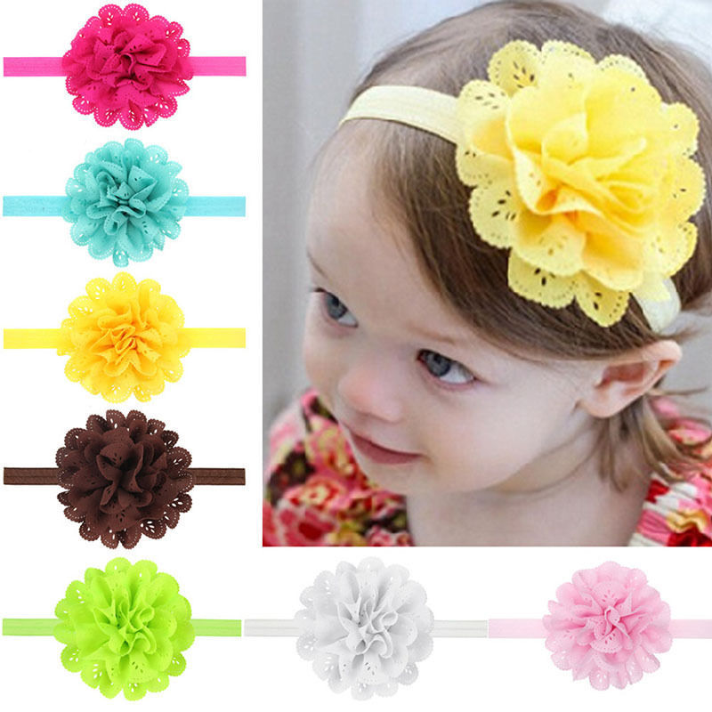 Newborn Baby Girl Kids Infant Headband Foot Flower Elastic Hair Band Accessories цена