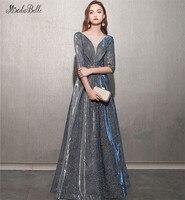 Modabelle синее Серебряное Вечернее Платье Vestido Noche Largo с коротким рукавом Scoop A Line арабские платья вечерние платья Gala Jurken