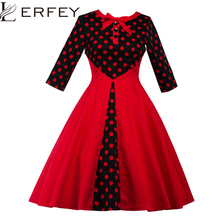 LERFEY Women Vintage Spring Dress 1950s Polka Dot Patchwork Party Dresses Button Bow Elegant Red Pleated Casual Dresses 3XL 4XL