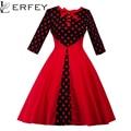 Lerfey mulheres spring dress 1950 s polka dot patchwork vestidos de festa do vintage botão arco elegante vermelho plissado vestidos casuais 3xl 4xl