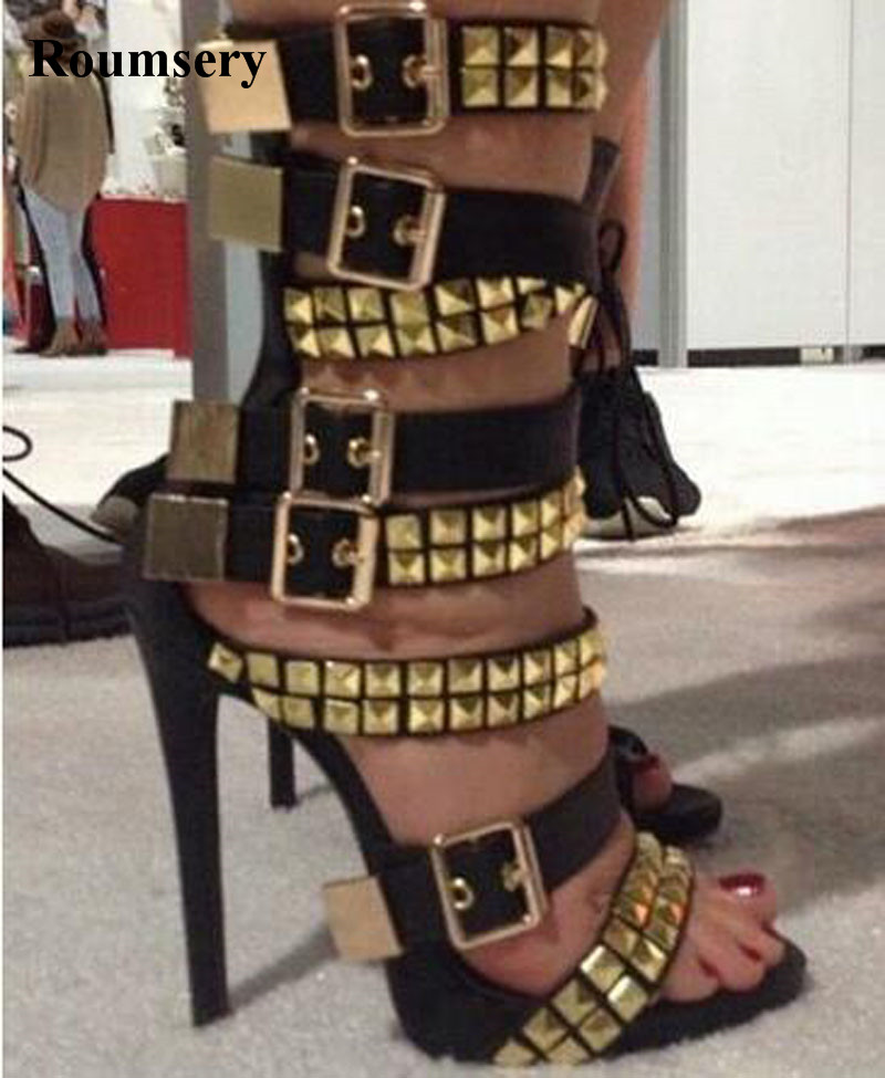 Hot Selling Women Fashion Open Toe Buckle Design Spike Ankle Gladiator Boots Cut-out Ankle Strap Thin High Heel Ankle Boots