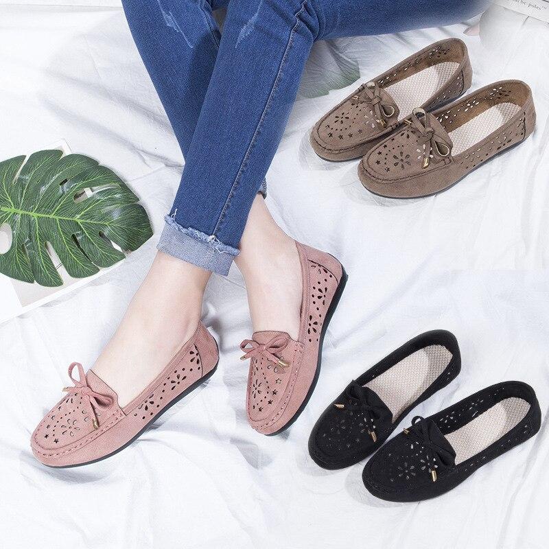 Casual Automne Mode Doux Confortable rose Chaussures Nouvelle Rétro Chaussures Noir marron Femmes Simple 2018 Creux Respirant Plat E7xHw7vqd