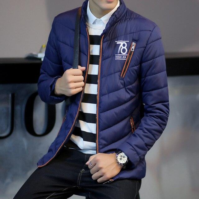Conforto dos homens de inverno Para Baixo Casaco Fino 2016 A nova de alta qualidade M-3XL algodão 100% Magro seção fina Homens jaqueta WZ336