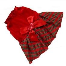 Платья для собак и кошек; вечерние платья принцессы на Рождество с красными блестками; одежда для домашних животных; одежда в клетку с бантом