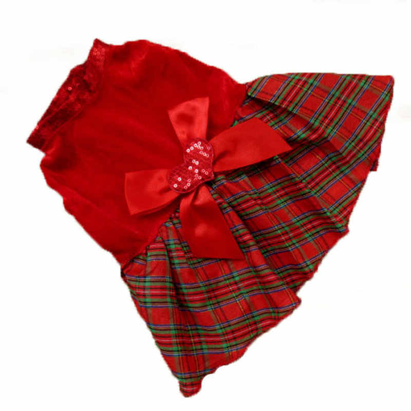 Dog Cat Dresses Christmas Princess Party Red Sequins Dress Clothes Pet Dog Plaid Bow Apparel