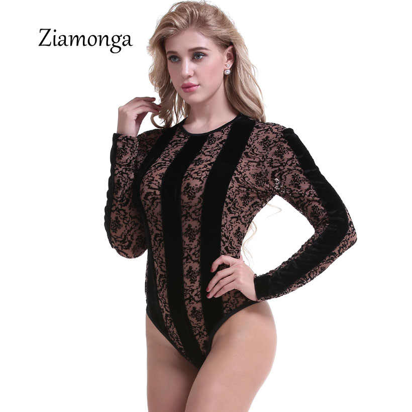 cf84a7c7e5 ... Ziamonga Sexy Lace Bodysuit Women Long Sleeve See Through Sheer Leopard  Print Jumpsuit Leotard Romper Body ...