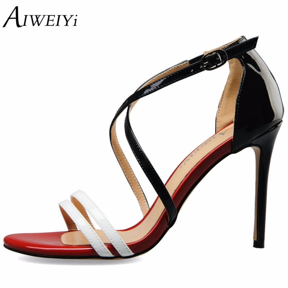 AIWEIYi Sexy High Heels Sandal Shoes Women Summer Brand Strap Mixed Colors Ladies Sandals Pumps Shoes Casual Shoes Woman new women sandals low heel wedges summer casual single shoes woman sandal fashion soft sandals free shipping