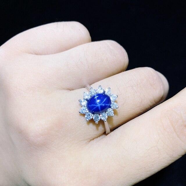 별빛 사파이어 반지, 고전적인 925 순수한은 별 선 아름다운 우편물 패킹