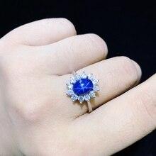 Starlight pierścionek z szafirem, klasyczny 925 czystego srebra gwiazda linii piękne pakowanie poczty