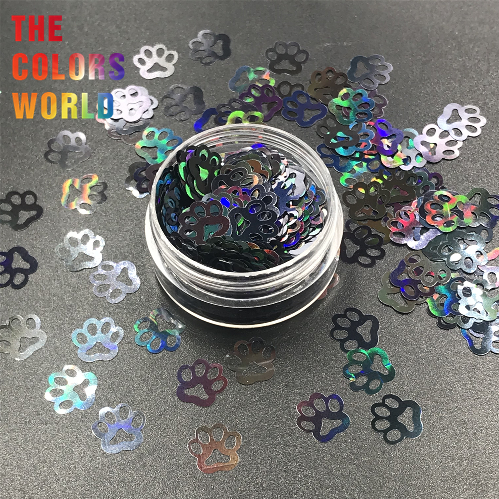 TCT-314 Paw Print Puppy Shape Holographic Nail Glitter Nail Art Decoration Body Art Festival Tumbler Craft DIY Accessories