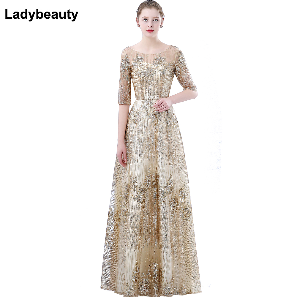 Ladybeauty New The Banquet Evening Dress Simple Elegant Champagne Half Sleeved Floor length Formal Party Gown