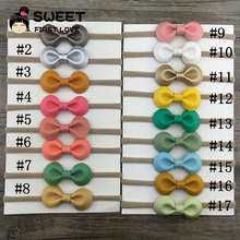 17pcs/set 17color Cute Kids Handmade Leather Bow Headband With Elastic Nylon Hair Band For Hair Accessories