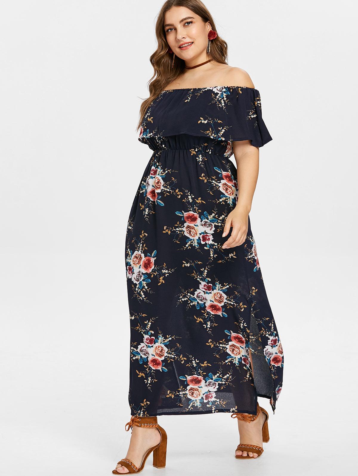Detail Feedback Questions about Wipalo Plus Size 5XL Off Shoulder Slit  Flower Print Dress Women Summer Beach Dress Short Sleeves A Line Bohemian  Dress ... 2ed6f2b088e5