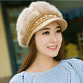 Autumn Winter Pearl Decoration Beanies Knitted Hat Rabbit Fur Hats Fashion Casual Women Bberet Cap Chapeu Feminino Gorros Mujer