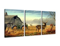 3 Panels Canvas Wall Art Print Painting Picture Deer Country Wildlife Hunting Brown Themed Landscape Artwork for Livingroom