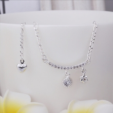 Wholesale Free Shipping silver plated Anklets,silver plated Fashion Jewelry Insets Star Anklets SMTA015