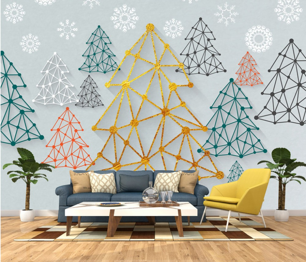 Free Shipping Custom 3D Mural TV Background Wallpaper Vegetal Trees Nature Wallpaper HD Wall Mural for Kid Room pure green mountain art wallpaper mural on the wall for kid s room wallpaper nursery room wall decor free shipping