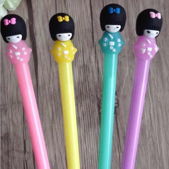 1 pçs/lote Kawaii 3D Japonês da menina da boneca caneta gel 0.5 milímetros de tinta preta caneta Estudantes prêmio presente do Escritório dos artigos de papelaria Da Novidade material escolar